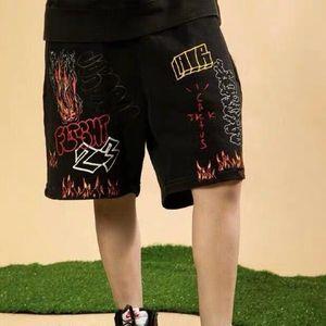 Men's Shorts Catcus Jack Flame Graffiti Casual For Men And Women High Street Straight Oversize Summer Knee Length Pants Drawstring