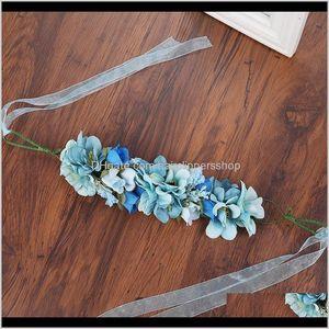 Haimeikang 수제 인공 꽃 여성 소녀 공주 크라운 머리 띠 결혼식 신부 패브릭 꽃 베일 화환 Qyldcr 914JV accesso dpjti