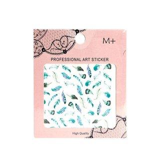 Prego Art Colorido Pena Adesivos Decalque DIY Transferência de Água Mulher Menina Decalques de Decalques de Decalques