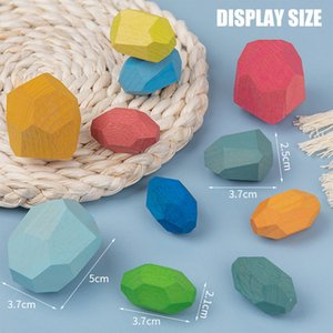 Children's Woodens Colored Stone Jenga Building Block Educational Toy Creative Nordic Style Stacking Game Rainbow Wooden Exquisite Toys Gift