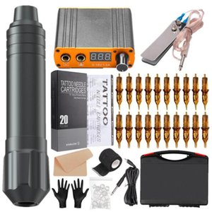 Professional Rotary Tattoo Gun Kits Complete Tattoos Pen Machine Set with Power Supply Needle Cartridges Makeup Eyebrow Body Art Tools