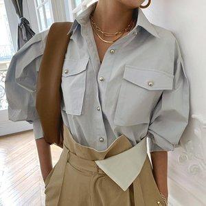 Chic elegantes elegantes sueltas camisas de pecho para mujer 2021 otoño moda manga completa bolsillos femenino blusa tops blusas de mujer