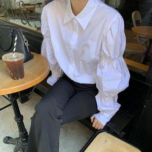 Women's Blouses & Shirts Lantern Sleeve Elegant Shirt White Button Vintage Blouse Turn Down Collar Office Ladies Female Casual Tops
