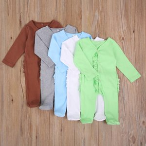 0-6M Born Baby Boy Girl Solid Color Long Sleeve Ruffles Single Breasted Cotton Romper Jumpsuit With Footes Clothes Jumpsuits