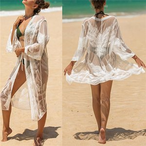 Mujeres encaje cubierto de trajes de baño adultos Sexy Sexy a través de cinturón de tres cuartos de manga con cuello en V Cardigan Vestidos de vacaciones de vestidos de playa