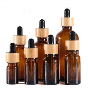 15ml 20ml 30ml 50ml 100ml Empty Refillable Bottle Amber Glass Dropper Vial Sample Bottles Jars with Bamboo Cap Essential Oil Perfume