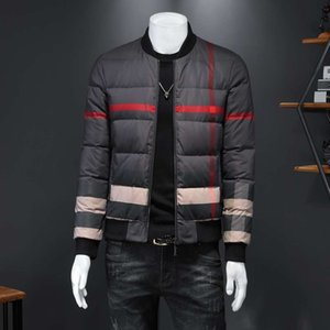 parkaDown Jacket High Quality Short Stand Collar Handsome Brand Winter Thickened Coat Men's Plaid