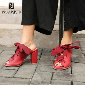 Slippers Prova Perfetto Sexy Red Women Summer Gladiator Sandals Lace Up Chunky High Heels Pumps Sandalias Mujer Slides