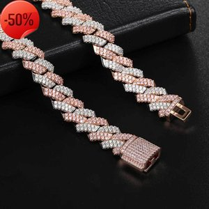 Hip Hop Full Diamond Bar Bracelet 13mm Diamond Cuba Chain Real Gold Electroplating Micro Inlaid Zircon Powder White Necklace