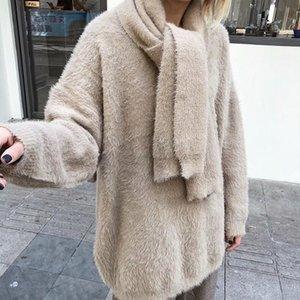 Femelle gris kaki chaude chaude femmes femmes automne hiver épais vison cachemire pull 2021 vêtements de mode écharpe free Femme Pulls Femme Femme's Pulls