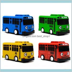 4Pcs Set Small Car Korean Cartoon Tayo The Little Bus Araba Oyuncak Model Pull Back Toy Kids Birthday Gift Lj200930 Toys B2Xf1
