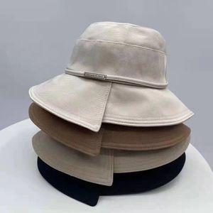 High quality classic Letter cowboy Bucket Hat Fashion Fold able Caps Black Fisherman Beach Sun Visor Sale Folding woman Big eaves hat