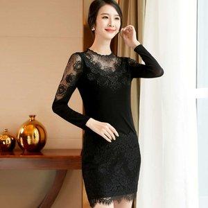 2021 Lanxinge Spring Long Sleeve Lace Dress Slim Temperament Bottom Women's Medium Length Skirt