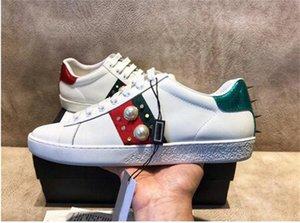 Высококачественные мужские повседневные туфли Белый туз Зеленая красная полоса Италия Пчела Тигр Змея Женщины Кроссовки Тренеры Chaussures Налейте Hommes с коробкой Z6CL #