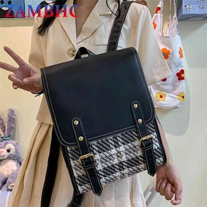 Fashion 3 Layers Women's Backpack Cotton and Pu Leather Backpacks for School Teenagers Girls Designer Travel BookBag Mochila 210911