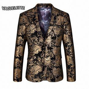 Wholesale- Stylish Golden Blazer Men Printed Paisley Floral Suit Jacket Wedding Party Stage Clothes For Singer Gold Blazer For Men M-4 x0ed#