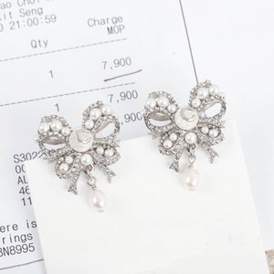 2021 Luxury quality butterfly shape stud earring with diamond and pearl for women wedding jewelry gift have box stamp PS3096