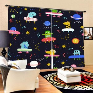 Curtain & Drapes 3D Print Alien Spacecraft Planet Window 2 Panels Polyester Black-out For Bedroom Living Room Bath Decor