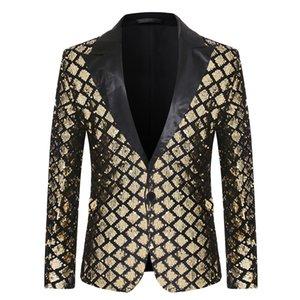 Moda EUR Kod V Yaka Erkek Takım Elbise Sahne Ziyafet Ceket Host Parti Elmas Pullu Tasarımcı Erkekler Suit Boyut S-XL