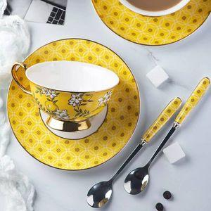 Bone China afternoon Tea Cup High grade Coffee Mug Coffee Cup Saucer Spoon set for English Tea 240ml Dropshipping