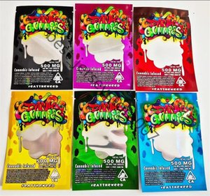 Dank Gummies Borse 6 Color 500mg Zip Lock Edibles Packaging Worms Bears Candy Gummy Bag Secco Fiore secco Odore Mylar Retail