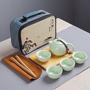 Накрытый портативный кунг-фу чай набор в четырех частях чайный костюм