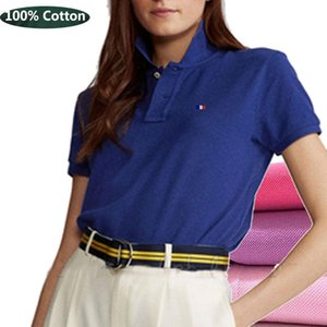 Women's Polos Summer Style High-Quality Short-Sleeved 100% Cotton Shirt Casual Lapel T-Shirt Slim Brand Logo Pullover Tops