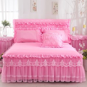 Beige Princess Lace Bedspread Bed Skirt 3pcs set Ruffles bedding Bed sheet Cotton Pillowcase Home Decorative Twin Queen King Size 358 R2