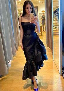Современные Black Mermaid вечерние платья Spaghetti Reblds Taffeta ruffles Asymmetric Длина лодыжки Официальные выпускные вечеринки