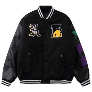 Хип-хоп бейсбольные куртки Пальто варьистости куртка мужчины уличная одежда вышитые буквы бомбардировщик Harajuku свободный унисекс мужская