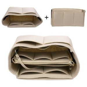 Purse Organizer,Felt Bag Organizer Insert Shaper Purse Organizer with Zipper Fit all kinds of Tote purses Cosmetic Toiletry Bags 503 R2