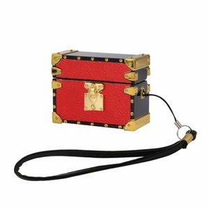 Роскошные квадратные кожаные силиконовые Airpods Pro 1 2 Корпус для аэродромов Case Дизайнер Наушники Защитный чехол