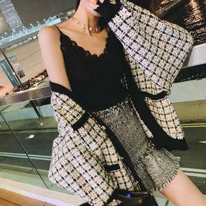 Женские свитера Высококачественная осень зима мода дизайнер свитер кардиган женщин V-образным вырезом роскошный бисерный вязальный куртк внешняя одежда Y7LY