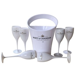 6 Cups + 1 Bucket Ice and Wine Glass 3000ml Acrylic Goblets champagne Glasses wedding Bar Party Bottle Cooler