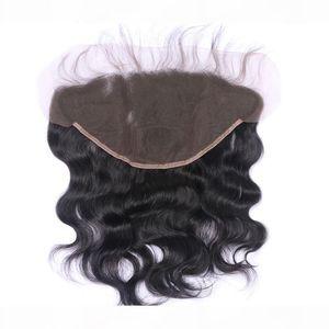 13x6 oreille à oreille dentelle fermeture frontale avec noeuds blanchis couleur naturelle 1b vague de corps brésilien Remy Remy humain Extensions de cheveux