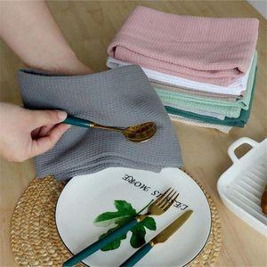 Table Napkin 4pcs Per Set Waffle Tea Towels Strong Absorption Cotton Walf Checks Kitchen Towel Cleaning 8 Colors 45x65cm