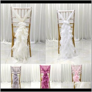 1Pcs 140X110Cm Chair Sash Bow For Cover Banquet Wedding Party Event Christmas Decoration Sheer Fabric Supply Ehllz Sashes 2Ayqu