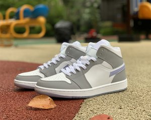 TopSportMarket Women Basketball Shoes Jumpman 1 1S Mid White Grey Blue Trainers Sneakers Sports Come With Box