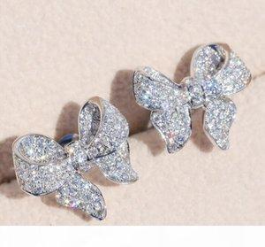 Sterling Silber Schöne Bogen Designer Ohrstecker Glänzende Kristall Luxus CZ Diamant Stein Nette Ohrringe Schmuck Für Frauen