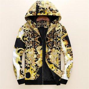 Весна и осень мода дизайнер мужская одежда куртка ветровка с длинным рукавом мужские цветочные куртки с капюшоном Zippe UP пальто плюс размер одежды