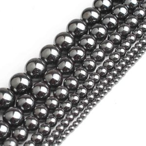 Wholesale Natural 2 3 4 6 8 10 12mm Black Hematite Stone Beads for Jewelry Making