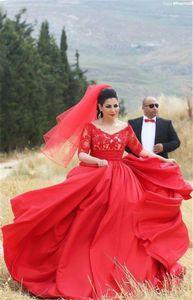 Designer Hijab Вечернее платье для пухлые девушки половина рукава кружевные аппликации верхний пухлый тафта юбка длиной плюс размер красный роль