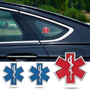 Araba Modifiye Metal Sticker Yıldızı Yıldızı Logo Mavi Acil Ambulans Logosu Rozeti Araba Yan Fender Gövde Dekorasyon Aksesuarları