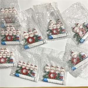 2021 Christmas Decoration Resin Quarantine Ornaments Family of 1-9 Heads DIY Tree Pendant with Rope A02