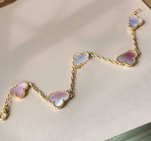 S925 silver five flowers penant bracelet with pink shell for women wedding jewelry gift have stamp rhombus clasp PS4804