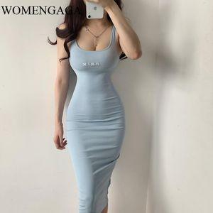 Womens Girl Female Summer BIG U Neck Sexy High Elasticity Tank Sheath Embroidery Letter Vest Dress Dresses E309 Casual
