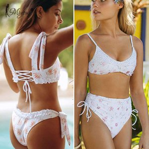 Zrtak Ruffle Floral Imprimir Swimsuit Biquinis Feminino Bow Swimwear Lace Bikini Set Bathing Terno Mulheres Bikins Hollow Out