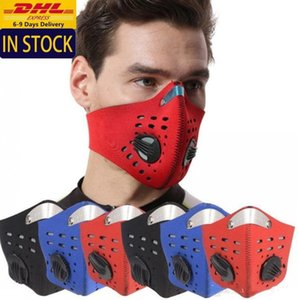 DHL Ship Reusable Breathable Riding Cycling Face Mask With Valve Adult Outdoor Anti Dust Pm2.5 Filter Protective mascherine FY9037