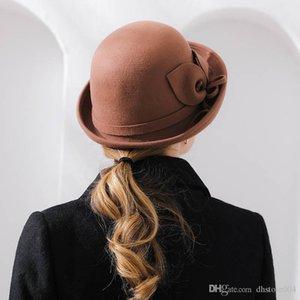En İyi Gölge Fibonacci Yeni Marka Kalite Flanşing Çiçek Yün Fedoras Kadınlar Sonbahar Kış Şapkalar Kedin Dome Zarif Ziyafet Fedora Şapka