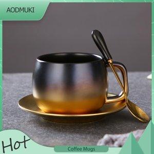 Mugs 280Ml Creative American-Style Black Gold Gradual Change Ceramic Coffee Mug Simple British Afternoon Teacup Set With Saucer Spoon